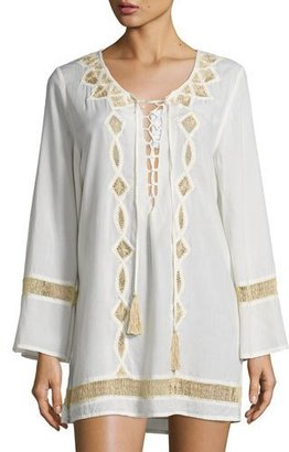 Ale by Alessandra Ever Suede Hand-Embroidered Tunic, Natural $160 thestylecure.com
