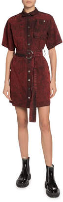 Proenza Schouler PSWL Short-Sleeve Belted Snap-Front Shirt Dress