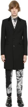 Alexander McQueen Velvet Collar Wool & Silk Drill Coat