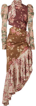 Zimmermann Unbridled Tempest Asymmetric Cutout Floral-print Silk-blend Dress - Pink