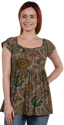 24/7 Comfort Apparel 24Seven Comfort Apparel Marlowe Green Paisley Short Sleeve Tunic Top