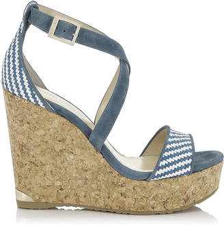 Jimmy Choo PORTIA 120 Blue and White Raffia Wedge Sandals