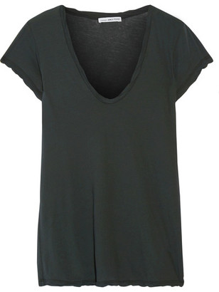 James Perse - Cotton-jersey T-shirt - Forest green $85 thestylecure.com