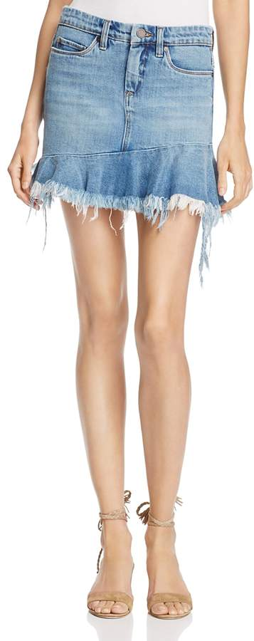 Blanknyc Asymmetric-Ruffle Denim Skirt