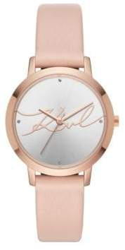 Karl Lagerfeld Camille Leather-Strap Watch