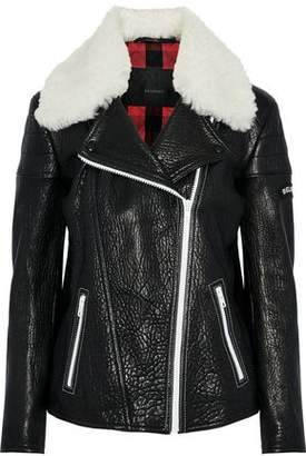 Belstaff Ellerslie Shearling-Trimmed Textured-Leather Biker Jacket