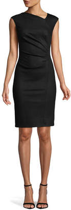 Halston Asymmetrical Neck Sheath Dress