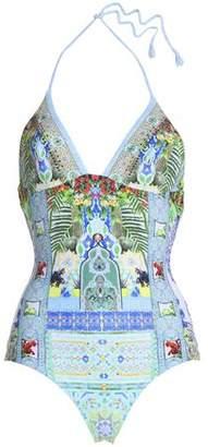 Camilla Embellished Printed Halterneck Swimsuit