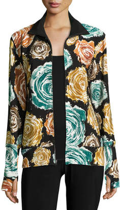 Norma Kamali Floral-Print Turtleneck Zip-Front Jacket, Painter Roses