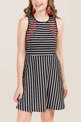 francesca's Ada Embroidered Striped A-Line Knit Dress - Black/White