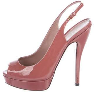 Gucci Peep-Toe Slingback Pumps Pink Peep-Toe Slingback Pumps