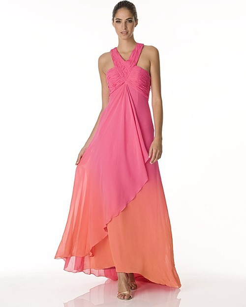 Sue Wong Long Chiffon Ombre Gown with Train