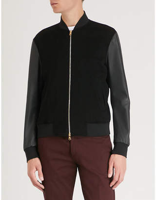Paul Smith Contrast sleeves cashmere and leather bomber jacket