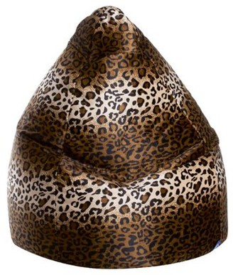 Gouchee Home Afro Collection Contemporary Fluffy Upholstered Faux Fur Bean Bag, Brown/Leopard