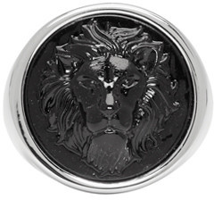 Versus Silver & Black Round Lion Ring $125 thestylecure.com