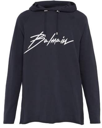 7924d100 Balmain Logo Printed Cotton Hooded Sweatshirt - Mens - Navy