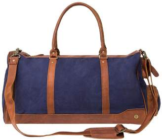 Mahi Leather Canvas Leather Columbus Holdall Bag In Navy Blue