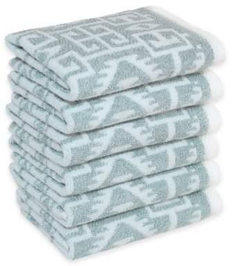 Linum Home Textiles Kula Washcloths in Soft Aqua (Set of 6)