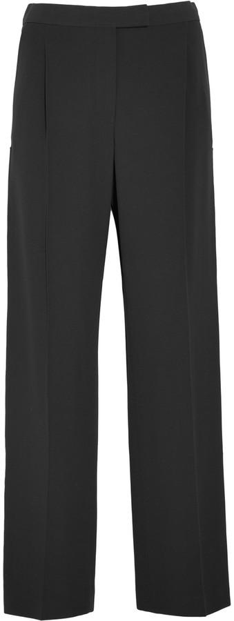 Alexander McQueenAlexander McQueen Grosgrain-trimmed crepe wide-leg pants