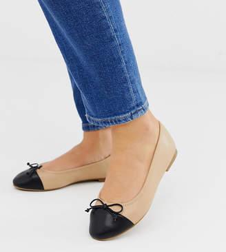 dc98ce7ea Asos Design DESIGN Wide Fit Larva toe cap ballet flats