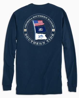 Southern Tide Gameday Nautical Flags Long Sleeve T-shirt - Georgia Southern University