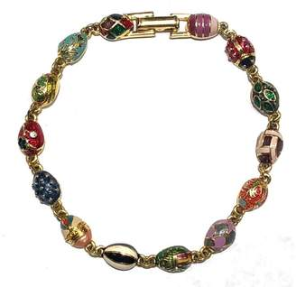 Faberge Joan Rivers Gold Tone Hardware with Colorful Enamel Eggs Lady Bug Bracelet