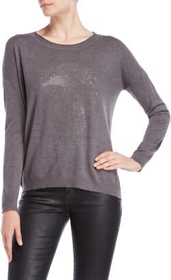 Vila Milano Grey Studded Skull Sweater