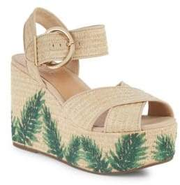 Schutz Feray Embroidered Wedge Espadrilles