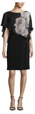 Lori Michaels Floral Chiffon Overlay Sheath Dress