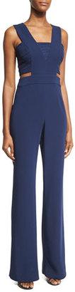 Ramy Brook Amanda Sleeveless Crepe Jumpsuit, Navy $545 thestylecure.com
