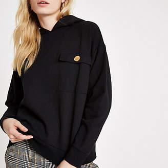 River Island Black chest pocket hoodie