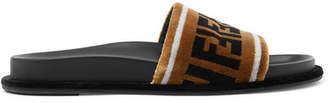 Fendi Logo-print Velvet Slides - Light brown