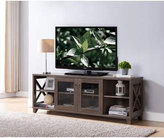 Gracie Oaks Tv Stand With 2 Glass Door Cabinet In Walnut Oak Gracie Oaks