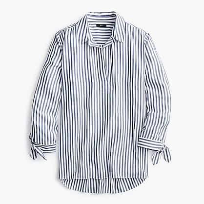 Collared tie-sleeve popover shirt in stripe