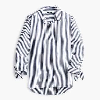 J.Crew Collared tie-sleeve popover shirt in stripe