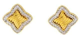 David Yurman 18K Diamond Quatrefoil Earrings