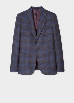 Paul Smith Men's Tailored-Fit Navy Plaid Wool And Silk-Blend Blazer