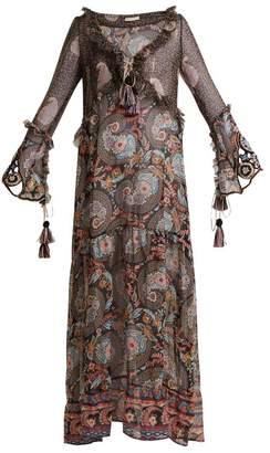 Anjuna - Ciclade Floral Print Tassel Trimmed Silk Dress - Womens - Black Multi