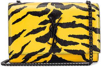 Saint Laurent Small Tiger Monogramme Kate Crossbody Bag in Yellow & Black   FWRD