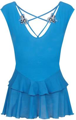 La Perla Opal Blooms Azure Modal Pyjama Top With Silk Cotton Voile And Embroidered Tulle