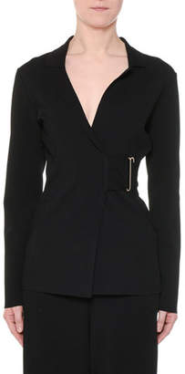 Stella McCartney Notched-Collar Heavy Viscose Wrap Jacket w/ Golden Bar