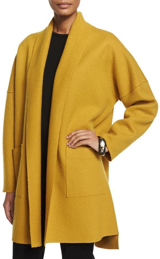Eileen Fisher Boiled Wool Kimono Coat, Mustard 3