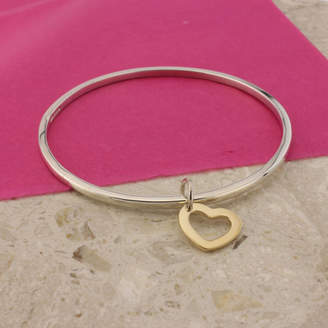 Argent of London Silver Bangle With 9ct Gold Heart