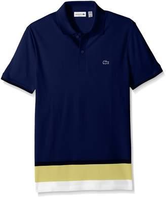 Lacoste Men's Short Sleeve Engineered Stripe Botton Polo Pique Slim Polo