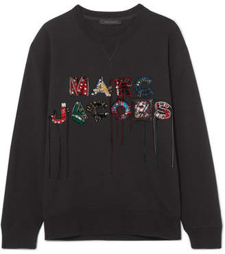 Marc Jacobs Embellished Embroidered Cotton-jersey Sweatshirt - Black