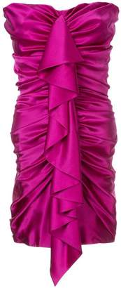 Alexandre Vauthier strapless satin ruched mini dress