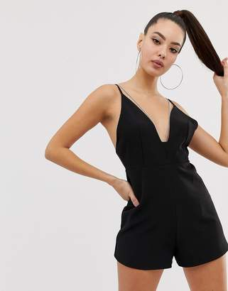 Asos DESIGN cami romper with chain detail