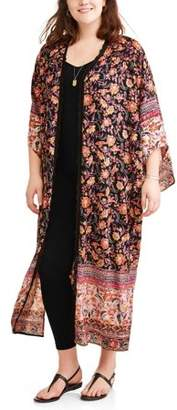 Romantic Gypsy Women's Plus Snapdragon Maxi Kimono