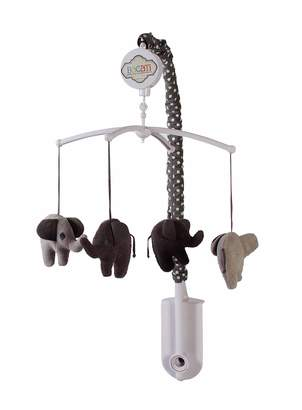 Bacati Elephants Unisex Musical Mobile Playing Brahms Lullaby for Attaching To US Standard Cribs