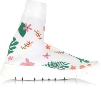 Joshua Sanders White Flower Nylon Sock Sneakers